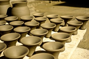 Mini tagine lids lined up to dry