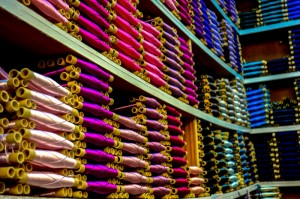 Silk threads make a colorful array