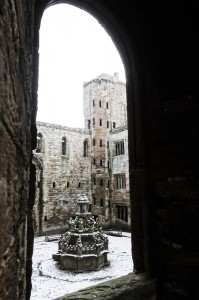 Winter scene into the courtyard and well of Linlithgow Castle
