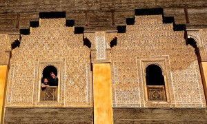 Peeking out the window at the Ben Youssef Madrassa