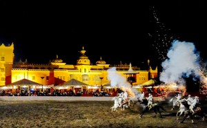 Amazing show with horses depicting a traditional Moroccan wedding