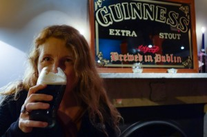 Tammy sampling the Guinness