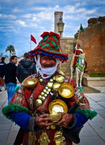 Friendly water carrier in traditional garb