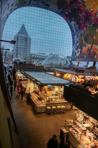 Looking out the Markthal windows towards the cube houses