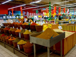 Western-style supermarket spice section